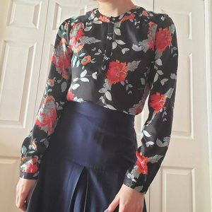 Floral print flowy long-sleeve 3/4 button-up shirt